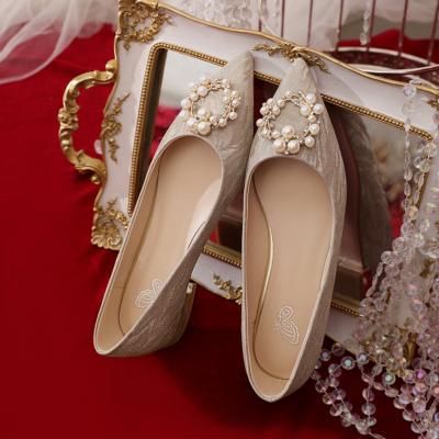 ゴールド グリーター 結婚式 ぺたっこ シューズ ポインテッドトゥ キラキラ パール バックル フラット