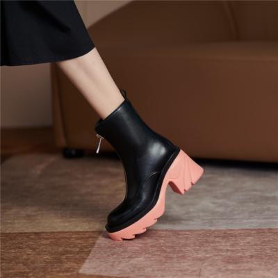 レディース 牛革 フロントジップ ブーツ ピンク 厚底ブーツ 履きやすい ショットブーツ
