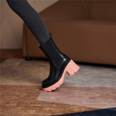 レディース 牛革 チェルシーブーツ ピンク 厚底 サイドゴアブーツ 履きやすい ショットブーツ