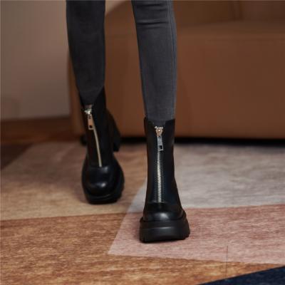 レディース 牛革 フロントジップ ブーツ ブラック 厚底ブーツ 履きやすい ショットブーツ