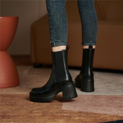 レディース 牛革 チェルシーブーツ ブラック 厚底 サイドゴアブーツ 履きやすい ショットブーツ