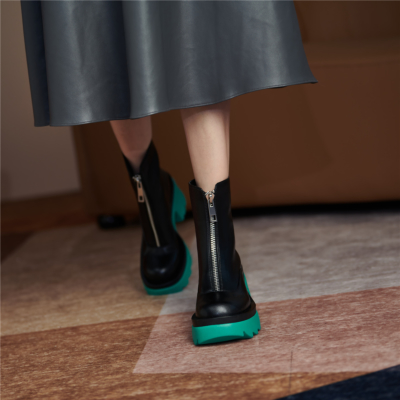 レディース 牛革 フロントジップ ブーツ グリーン 厚底ブーツ 履きやすい ショットブーツ