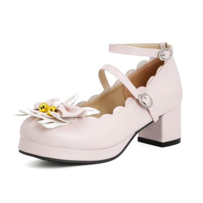 ピンク かわいい ロリィタ族  5cm ラウンドトゥ メリージェーン パンプス ウサギ リボン 人気靴