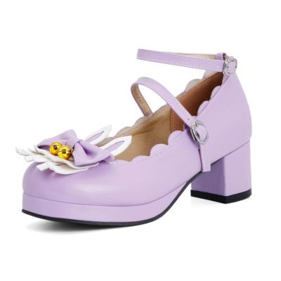 パープル かわいい ロリィタ族  5cm ラウンドトゥ メリージェーン パンプス ウサギ リボン 人気靴