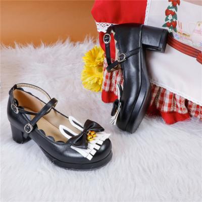 かわいい ロリィタ族  5cm ラウンドトゥ メリージェーン パンプス ウサギ リボン 人気靴