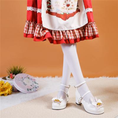 ホワイト かわいい ロリィタ族  5cm ラウンドトゥ メリージェーン パンプス ウサギ リボン 人気靴