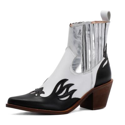 ホワイト ブラック レディース COWBOY カウボーイ ブーツ お洒落 本革 ウエスタン ブーツ 人気 レトロ アンクルブール