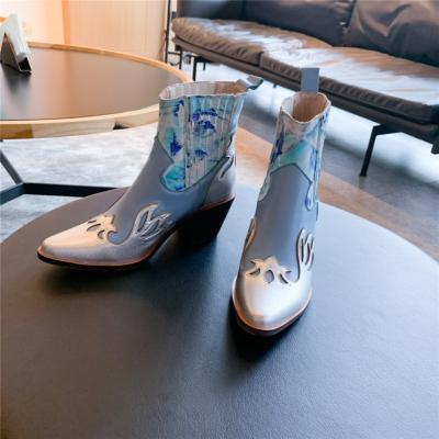 ブルー レディース COWBOY カウボーイ ブーツ お洒落 本革 ウエスタン ブーツ 人気 レトロ アンクルブール