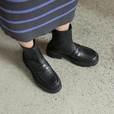 ブラック オイル植物タンニン鞣し革 凹凸 厚底 ショットブーツ 滑りにくいスクエアトウ アンクルブーツ