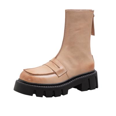 オイル植物タンニン鞣し革 凹凸 厚底 ショットブーツ 滑りにくいスクエアトウ アンクルブーツ