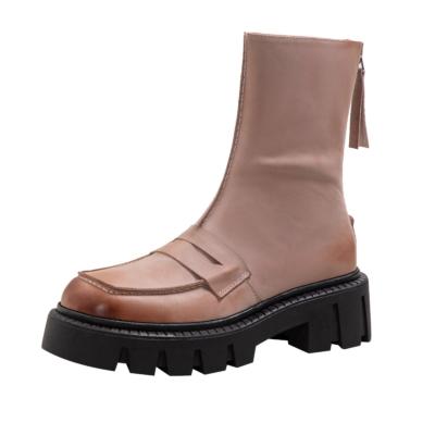 パープル オイル植物タンニン鞣し革 凹凸 厚底 ショットブーツ 滑りにくいスクエアトウ アンクルブーツ