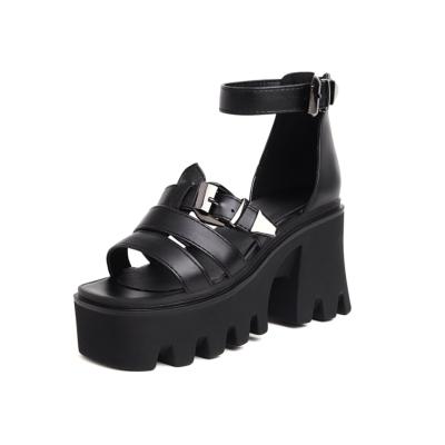 ブラック ゴスロリ 厚底 靴 太ヒール サンダル レディース ロリータ 原宿 ゴシック 大きいサイズシューズ