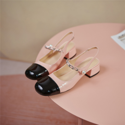 ピンクと黒 カラーブロック スクエアトゥ 3.5センチ メリージェーンシューズ