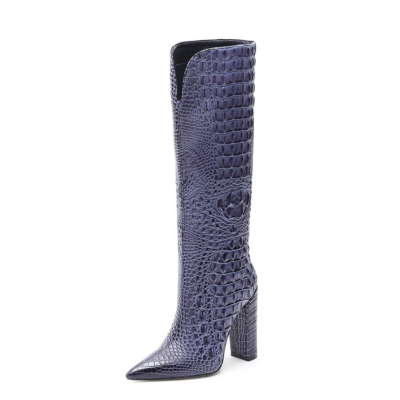 ブルー クロコダイルの柄が型押しされたロングブーツ