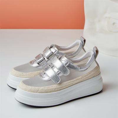 2021新作 シルバー メーシュ厚底シューズ 幅広い 履き心地 大人の可愛い靴