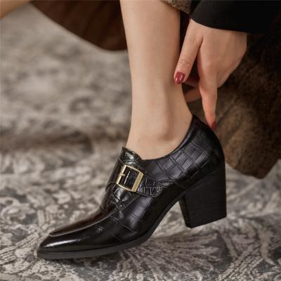 ブラック 本革 クロコ型押し 春新作 ヒール レディース靴 アンクルブーツ