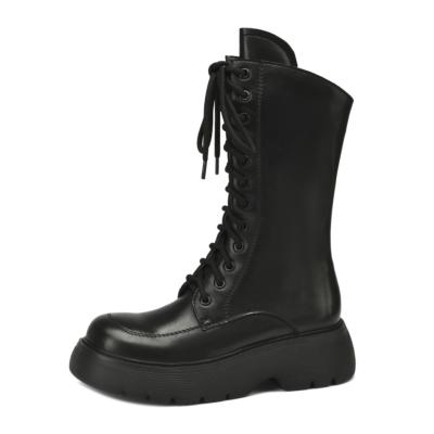 2021 秋ブーツ 新作 ブラック 本革 厚底 レースアップブーツ 人気のアンクルブーツ