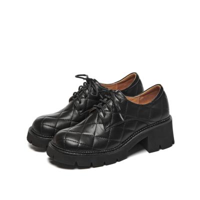 本革 レースアップ 厚底5.5cm 履き心地靴