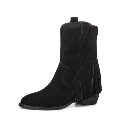 秋冬新作 ブラック スエード調 タッセル ヴィンテージ ウエスタン ブーツ 人気 カウボーイ ブーツ