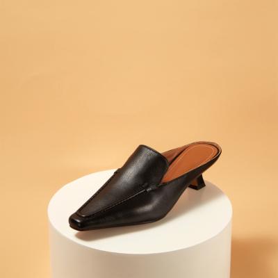 本革 レトロ スクエアトゥ ミュールヒール 履き心地 レディース靴