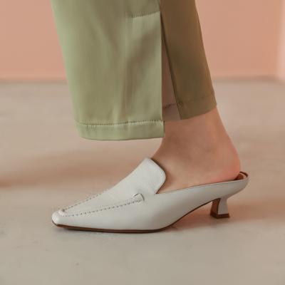 ベージュ 本革 レトロ スクエアトゥ ミュールヒール 履き心地 レディース靴