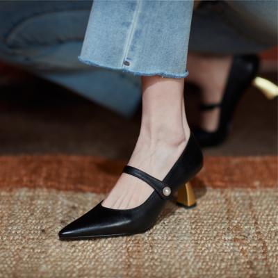 ブラック 本革 カジュアル 歩きやすいパンプス メリージェーンヒール