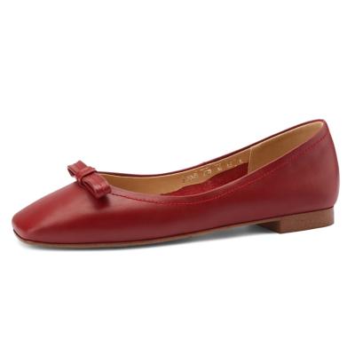 レッド 本革 カジュアルバレエシューズ リボン 歩きやすい靴