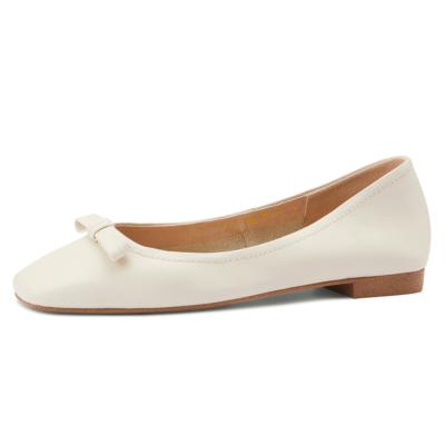 ホワイト 本革 カジュアルバレエシューズ リボン 歩きやすい靴