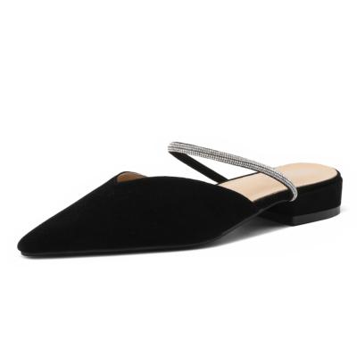 ブラック 本革 ラインストーンストラップ ミュールシューズ ローヒール レディース靴