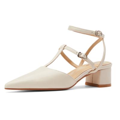 ホワイト 本革 ストラップヒール パンプス アンティーク調春夏靴