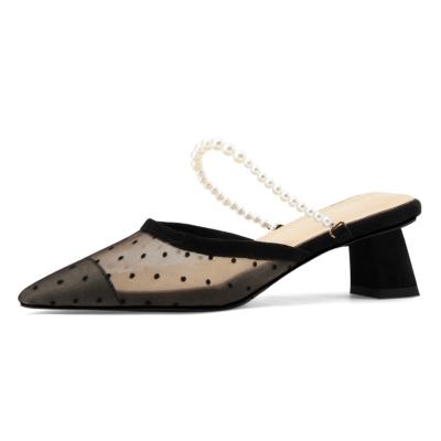 パール メーシュミュールヒール 美脚 サンダルヒール レディース靴
