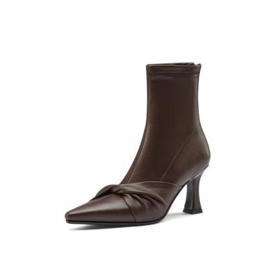 3色 本革 綺麗 ローヒール アンクルブーツ 美脚靴 2021春新作ショートブーツ