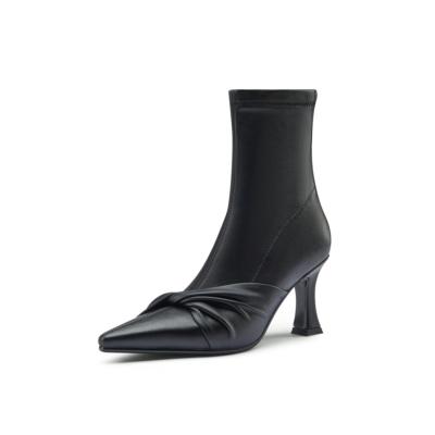 ブラック 本革 綺麗 ローヒール アンクルブーツ 美脚靴 2021春新作ショートブーツ