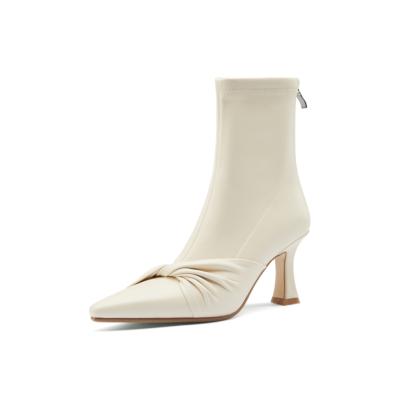 ホワイト 本革 綺麗 ローヒール アンクルブーツ 美脚靴 2021春新作ショートブーツ