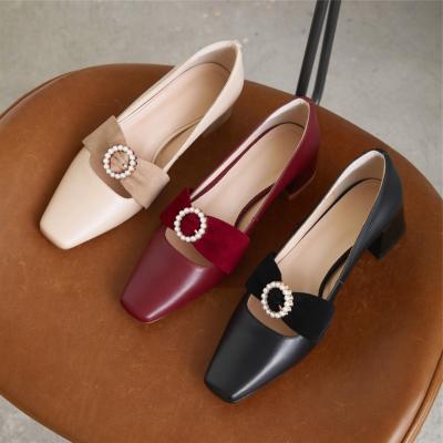 本革 歩きやすい靴 レディースパンプス キラキラバックル