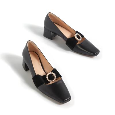 ブラック 本革 歩きやすい靴 レディースパンプス キラキラバックル