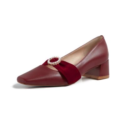 レッド 本革 歩きやすい靴 レディースパンプス キラキラバックル