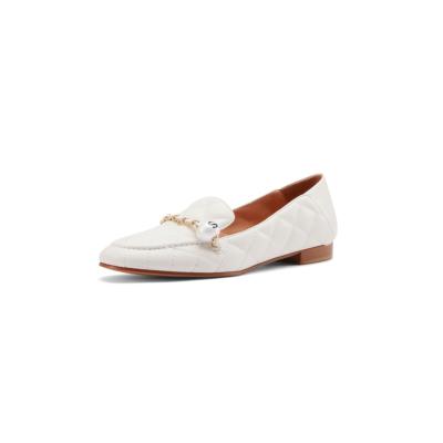 ベージュ 本革 ビーズ チェーン ローファー 歩きやすい靴 人気フラットシューズ