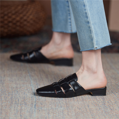 2021新作 ブラック 本革編み ミュールサンダル レザー編み スクエアトゥ レトロ風シューズ 履き心地靴