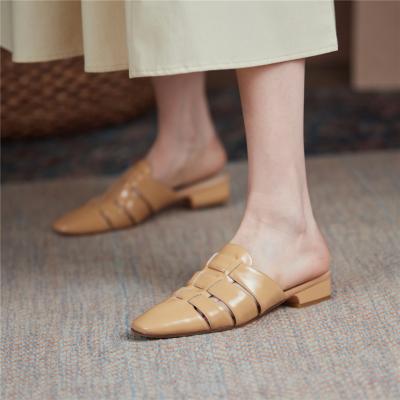 2021新作 3色 本革編み ミュールサンダル レザー編み スクエアトゥ レトロ風シューズ 履き心地靴
