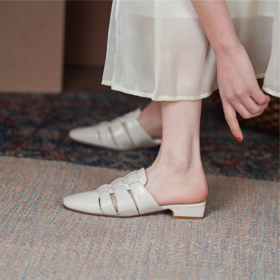2021新作 ホワイト 本革編み ミュールサンダル レザー編み スクエアトゥ レトロ風シューズ 履き心地靴