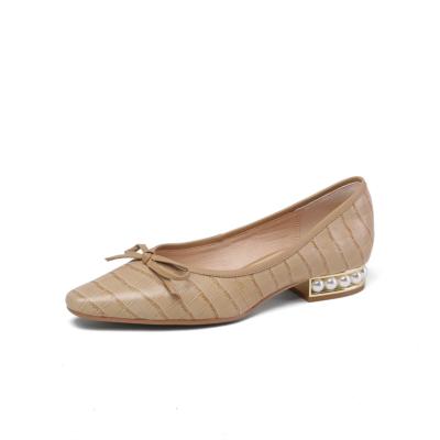 本革 クロコ型押し 蝶結び ローヒール 歩きやすい靴 パール足底 カジュアルぺたんこ