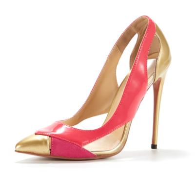 ピンク&ゴールド 5センチ ピンヒール レディースパンプス