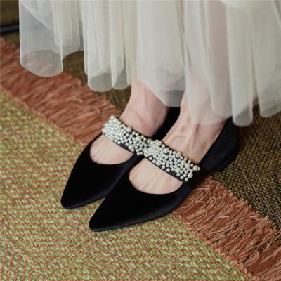 ブラック 2021は春新作 ベルベットメーリジェシューズ パール 天鵞絨 レトロ人気靴