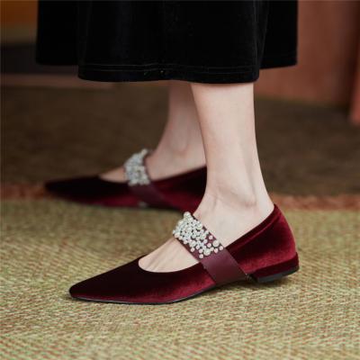 2021は春新作 ベルベットメーリジェシューズ パール 天鵞絨 レトロ人気靴