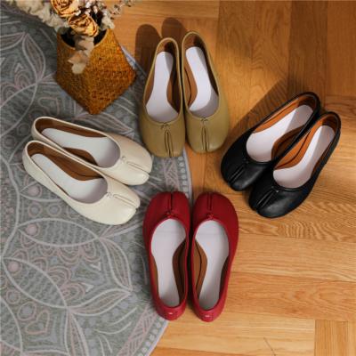 本革 フラット 足袋 バレエシューズ 歩きやすい靴