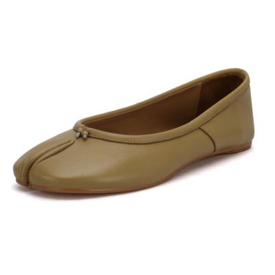 本革 グリーン フラット 足袋 バレエシューズ 歩きやすい靴