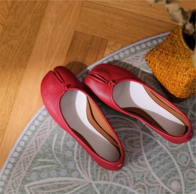本革 レッド フラット 足袋 バレエシューズ 歩きやすい靴