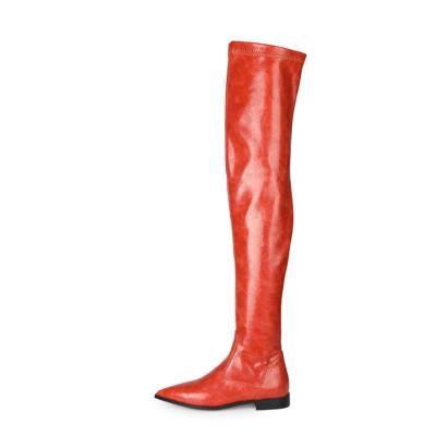 定番 赤 美脚 フラットレディースロングブーツ