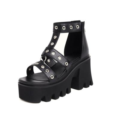 ブラック 8CM 厚底 靴 太ヒール サンダル ロリータ ゴスロリ 原宿 ゴシック 大きいサイズ 22.0cm~28.5cm